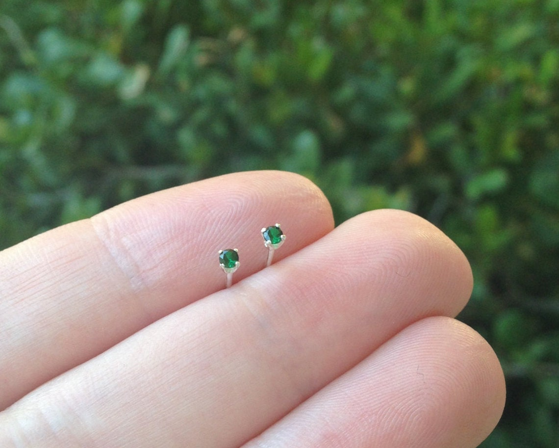 tiny 2mm emerald stud earrings sterling silver round