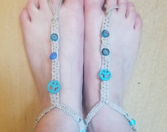 Hemp barefoot sandals peace sign blue