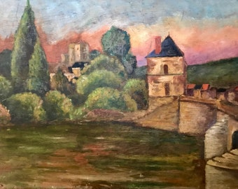 Castle and bridge in Northern France (antique oil painting)