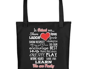 School Teacher Tote Bag - School Gift Carry-all - Education Staff We Are Family