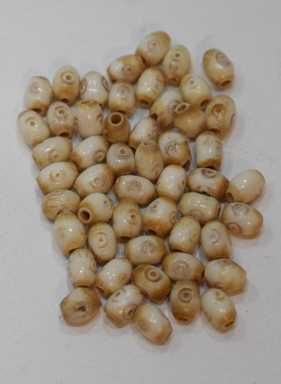Beads Indonesian Bone Small Oval Vintage Beads 8mm