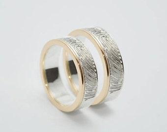 """Engagement Rings """"fingerprint"""" silver gold"""