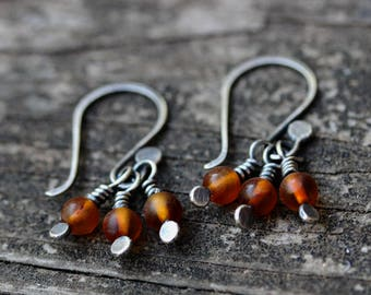 Amber trio sterling silver dangle earrings
