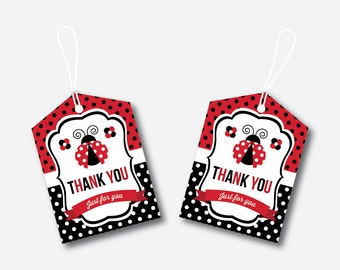 Instant Download, Ladybug Favor Tags, Red Polkadot Favor Tags, Ladybug Gift Tags, Ladybug Thank You Tags, Ladybug Party Printable (SKB.03)