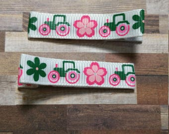 Pink Tractor Hair Clip Set / Baby Hair Clip / Toddler Hair Clip / Ready To Ship