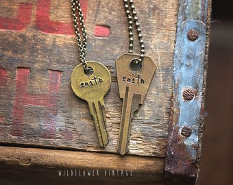 Faith Key Necklace   Hand Stamped Vintage Repurposed Cross Christian Religious Encouragement Inspirational Gift