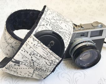 DSLR Minky Camera Strap, Padded with Lens Cap Pocket, Nikon, Canon, DSLR Photography, Photographer Gift,  - Maps with Black Minky