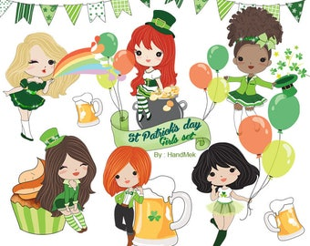 St Patrick's day Girls set clipart Instant Download PNG file - 300 dpi