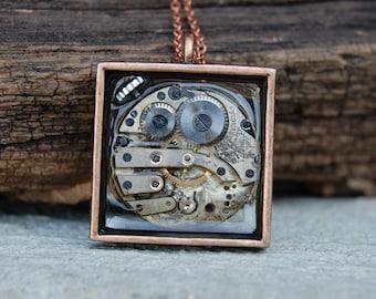 Copper steampunk necklace, steampunk pendant, industrial necklaceStocking Stuffers