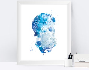 Sadness Print Sadness Inside Out Printable Watercolor Art Baby Nursery Decor Inside Out Print Disney Art Inside Out Gifts Wall Art