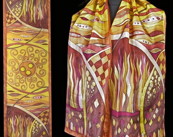 Hand painted silk scarf, brown and yellow silk scarf, Hand painted silk scarves, gift for woman, one of a kind gift , silk shawl