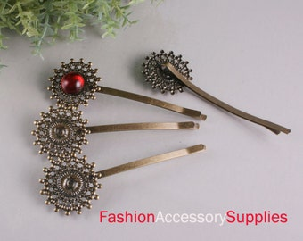 10PCS-Pad 73mm Antique Bronze Bobby Pin with Filigree Pad(E281)