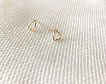 Delicate 14k Gold triangle studs