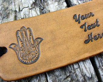 Personalized Luggage Tag Leather Hand of Fatima