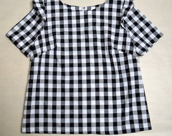 Gingham top, gingham blouse, shell top, ruffle shoulder top, women's blouse, short sleeve top, women's top,