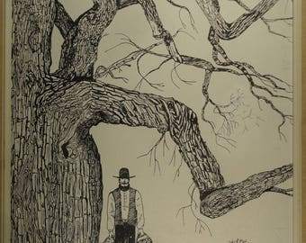 Vintage Tree Drawing Autumn Landscape Male Figure Pen and Ink Drawing Original 1960s American Folk Art Large Farm Landscape Black and White