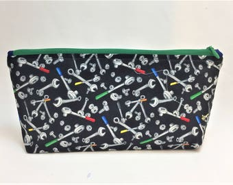 Medium Zipper Pouch made with nuts and bolts and tools fabric