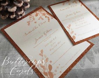 Autumn Wedding Invitation, Fall wedding Invitation, copper wedding, copper glitter invitation, leaves wedding invitation, autumn leaves