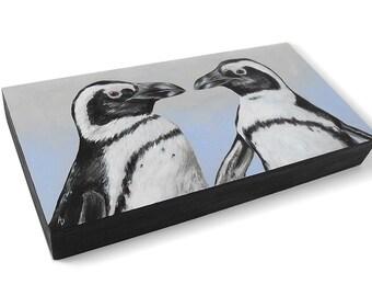 Penguin couple painting - penguin art - wedding art - anniversary gift - realistic penguins wildlife painting - ice blue antarctic bird art