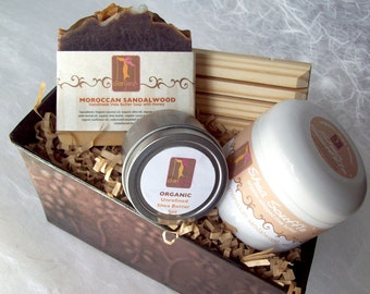 Sandalwood Gift Set for Men with Organic Soap, Shea Butter and Soap Dish, skincare for men