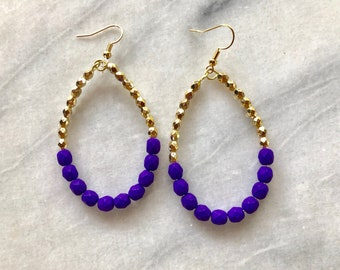 Large Purple and Gold Teardrop Earrings