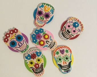Fondant Day of the Dead Cupcake, Cake, Cookie Toppers Set includes 12