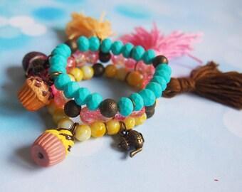 Bracciale braccialetto nappa Bracciale Cupcake (cupcake elastico bracciale braccialetto in miniatura cupcake nappa rosa Bracciale elastico)