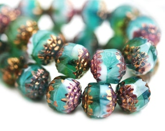 8mm Teal Green beads Cathedral czech glass beads Mixed Green round beads Golden ends fire polished ball beads - 10Pc - 0651
