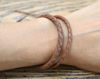 Leather Mens Bracelet Braided Bola Saddle Tan Adjustable