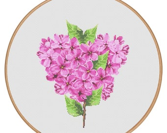 MORE for FREE - Lilac - Counted Cross stitch pattern PDF - Instant Download - Cross Stitch Pattern - Flowers-Love- Needlepoint #1519