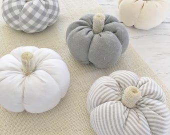 Pumpkin - Decorative Pumpkins, Fabric Pumpkins, Pumpkin Ornament, White Pumpkins, Autumn Decorations, Fall Decor