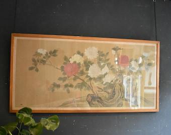 Large Chinese Painting on Silk of Peony and Birds vintage original artwork