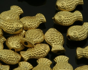 10 pcs  9 mm (hole 1,5 mm) gold plated alloy fish shape spacer  findings spacer bead bab1.5 837