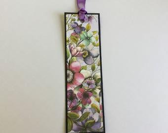 Paper bookmark, unique bookmark, pretty, floral, book lover gift, teacher gift token of appreciation, purple