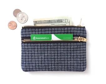 Wallet Coin Purse Double Zipper Pouch Basketweave Navy Blue