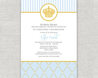 Royal Prince Birthday Invitations, Korean Dol, Doljanchi, blue and gold invitations, crown birthday invites, Prince Bday Party