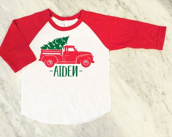 kids christmas shirt - red truck christmas tree shirt