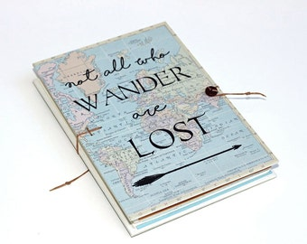 Bucket list travel journal world traveler gift hipster not all who wander are lost travel journal with world map pockets and envelopes gumiabroncs Image collections