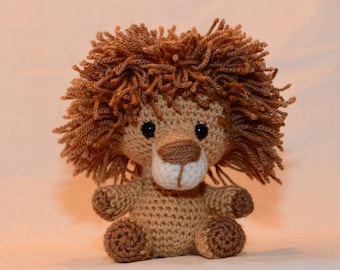 A gorgeous little lion. Hand crocheted little lion, a plush softie animal. Tiny Zoo Laurence the Lion.