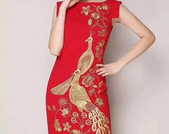 Qipao Embroidered Peacock Mandarin Dress (Red or Beige)