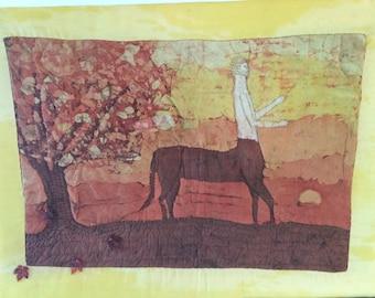 Fiber Arts Original Wallhanging Greek Mythology Centaur Yellow Orange