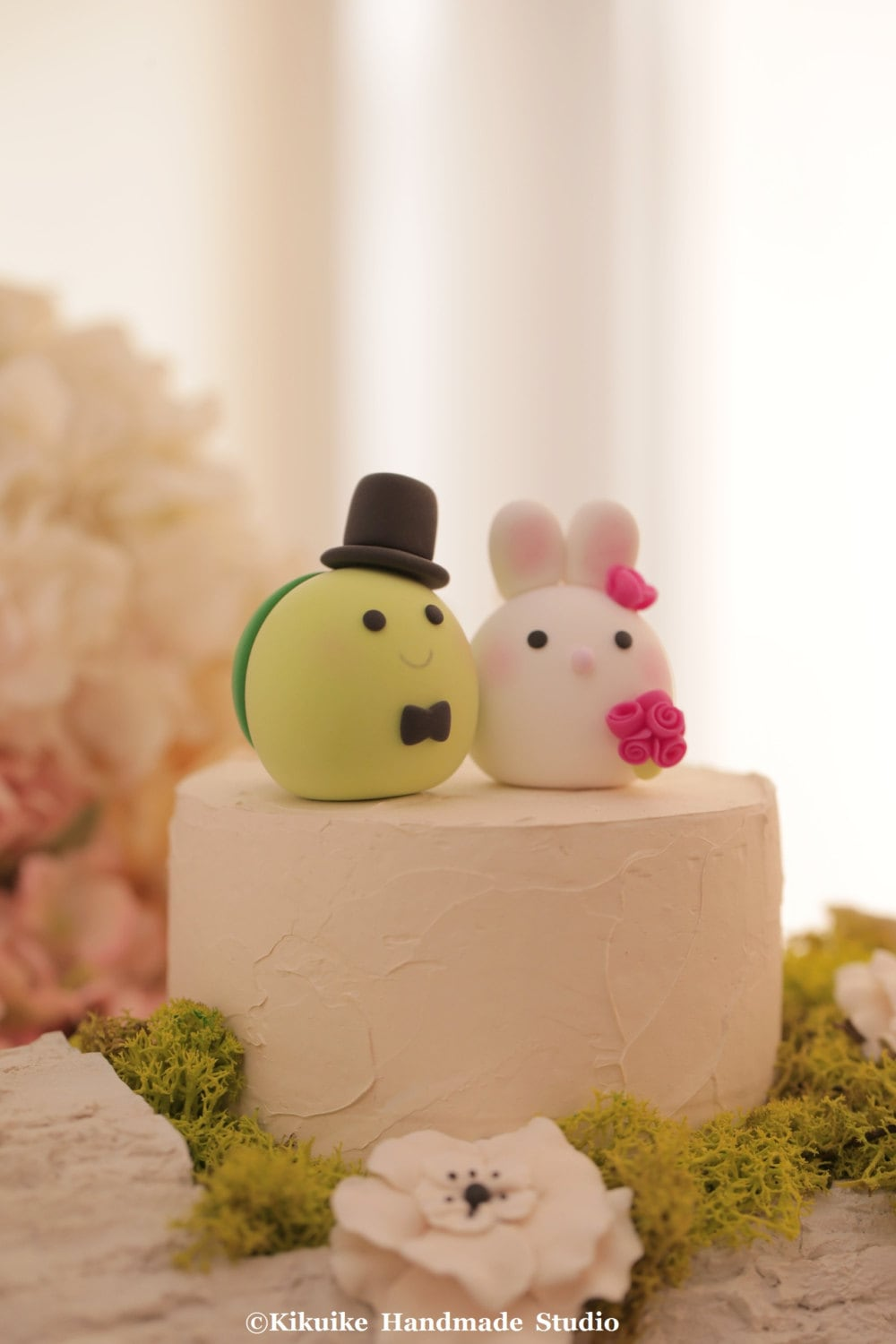 Bunny Rabbit and Turtle wedding cake topper