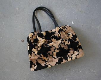 vintage 1960s purse / 60s tapestry handbag / 60s brown black geometric purse / 60s op art carpet bag / 1960s Meyers purse