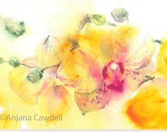 Yellow Orchid Card, Blank Greetings Card, Printed A6 Card, Golden Anniversary, Birthday, Thank you, Watercolour Painting, Watercolor Art