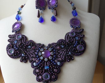 Lace Statement Necklace, Blue Lilac Bib Necklace, OOAK, Beaded Crystal Lace Necklace, Bead Embroidery, Wearable Art