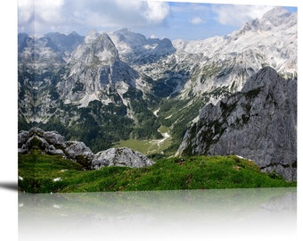 Mountain Forest Valley Art Print Wall Decor Image - Canvas Stretched Framed
