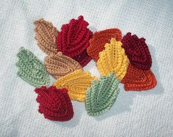 12 handmade crochet applique autumn leaves/6 pair-- 2697