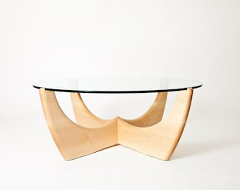 Glass top coffee table in American maple