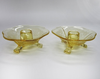 Fostoria June Topaz Yellow 3 toed Candleholders Depression Elegant Etched Footed Candlesticks