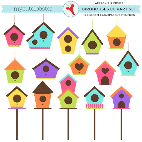birdhouses clipart set clip art set of birdhouses bird homes rh etsystudio com birdhouse clipart png birdhouse clipart images